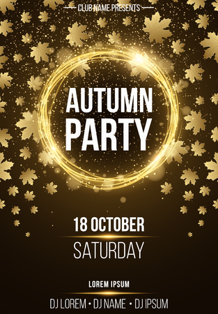 Background vertical poster for autumn party. Shining golden banner with golden dust. Abstract yellow lights. Maple leaves. Seasonal poster. DJ and club name. Vector illustration