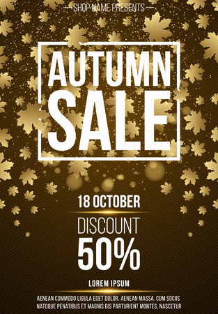 Vertical background, poster for advertising autumn sale. Coupons and discounts. White banner with text. Golden maple leaves. Glare and flare. Vector illustration