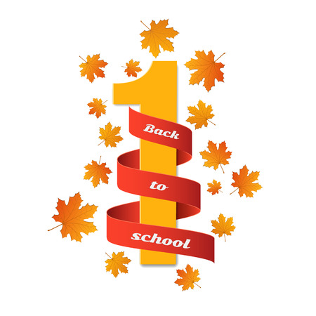 Red tape with white number 1 and maple leaves on white background. Illustration