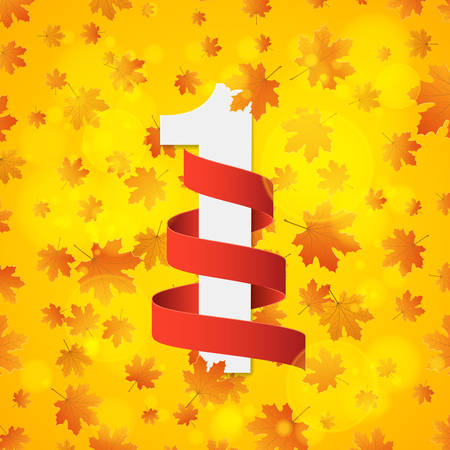 September 1st. Day of knowledge. Empty red ribbon with white number 1. Autumn background for poster. Orange leaves of maple. Abstract yellow glare bokeh. Back to school. Vector illustration