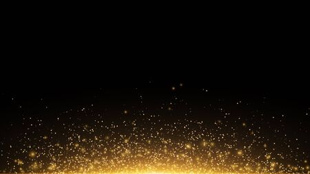 Golden glowing dust on a black horizontal background. Backlight from the bottom. Template for the project. Sparkle dots, round tinsel elements celebration backdrop graphic design. Vector illustration