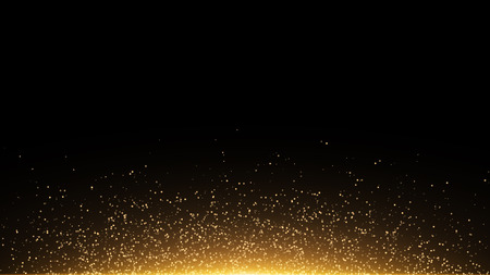 Golden glowing dust on a black background. Backlight from the bottom. Template for the project. Sparkle dots, round tinsel elements celebration backdrop graphic design. Vector illustration