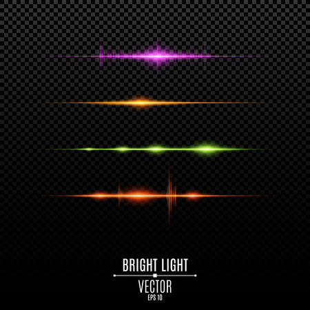 Set. Abstract purple, orange, green, red glare and flashes isolated on a transparent background. Colorful light vibration. Volume and light. Multicolor backlight and soft light. Vector illustration