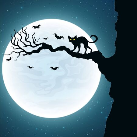 Black cat on the tree. Bats fly against the background of the full moon.