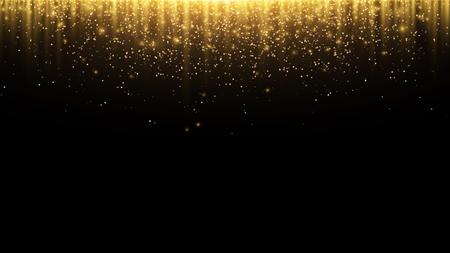 Résumé historique Rayons d'or de la lumière avec une poussière magique lumineuse. Brillent dans le noir. Voler des particules de lumière. Illustration vectorielle