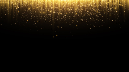 Abstract background. Golden rays of light with luminous magical dust. Glow in the dark. Flying particles of light. Vector illustration Vettoriali