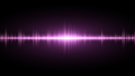 electronic background: Sound waves of light purple on a dark background. Background for the radio, club, party. Vibration of light. Bright flash of light. Vector illustration Illustration