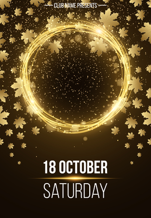 autumn background: Autumn poster for advertising. Shining golden banner with golden rain. Abstract yellow lights. Seasonal poster. Vector illustration Illustration