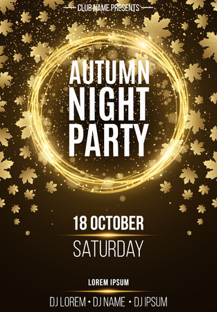 autumn background: Background, poster for autumn night party. Shining golden banner with golden dust. Abstract yellow lights. Seasonal poster. DJ and club name. Vector illustration