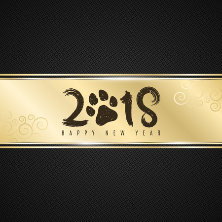 Golden ribbon banner on a dark background with a pattern in the form of a grid with the inscription 2018 year of the dog. Realistic gold strip. Dog trace. Grunge style. Vector illustration Stock Illustratie