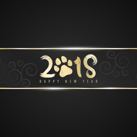 Black ribbon banner on a dark background with a pattern in the form of a grid with a golden inscription 2018 year of the dog. Realistic gold strip. Dog trace. Grunge style. Vector illustration