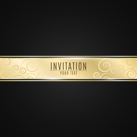 Luxurious invitation to the event. Golden ribbon banner on a black background with a pattern of mesh. Realistic gold strip with an inscription. VIP invitation. Vector illustration Stock Illustratie
