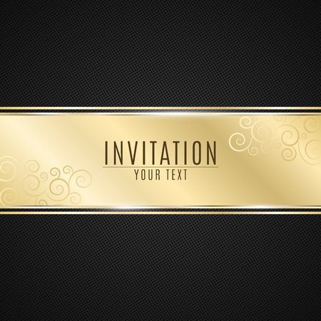 Luxurious invitation. Golden ribbon banner on a black background with a pattern of mesh. Realistic gold strip with an inscription. VIP invitation. Vector illustration Stock Illustratie