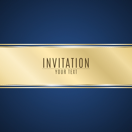 Luxurious invitation. Golden ribbon banner on a blue background with a pattern of oblique lines. Realistic gold strip with an inscription. VIP invitation. Vector illustration Stock Illustratie