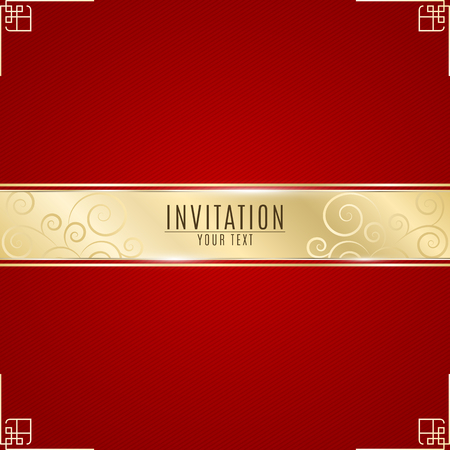 Luxurious invitation. Golden ribbon banner on a red background with a pattern of oblique lines. Realistic gold strip with an inscription. Gold lace. VIP invitation. Vector illustration