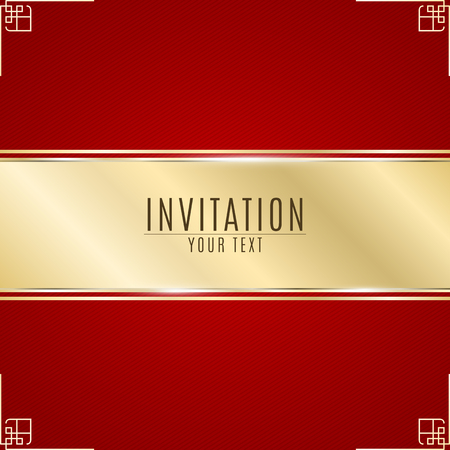 Luxurious invitation. Golden ribbon banner on a red background with a pattern of oblique lines. Golden frame. Realistic gold strip with an inscription. VIP invitation. Vector illustration