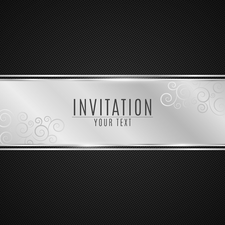 Luxurious invitation. Silver ribbon banner on a black background with a pattern of mesh. Realistic silver strip with an inscription. Silver invitation. Vector illustration