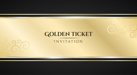 Golden ticket. Luxurious invitation. Golden ribbon banner on a black background with a pattern of mesh. Realistic gold strip with an inscription. VIP invitation. Vector illustration Stock Illustratie