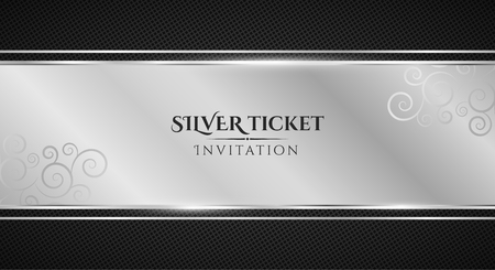 Silver ticket. Luxurious invitation. Silver ribbon banner on a black background with a pattern of mesh. Realistic silver strip with an inscription. VIP invitation. Vector illustration