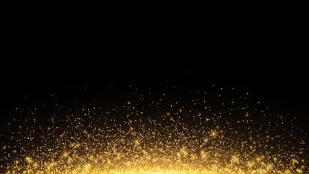 バックライト付きの抽象的な黄金色のライト。魔法の黄金のほこりとグレアを飛んでいます。お祝いクリスマスの背景。黄金の雨。ベクトル図