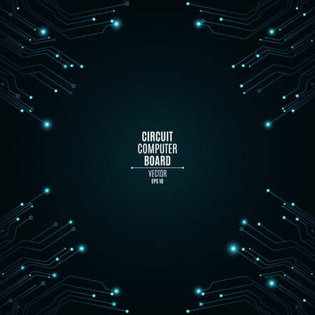 Background from a computer board with luminous blue connectors. Circuit computer board. The pattern of the grid. High-tech neon network connection lines. Vector illustration Vector Illustration