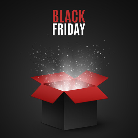 Black and red magic box for sale on a black Friday. Flying light particles and dust on a dark background. Special offer. Super sale. Vector illustration Illustration