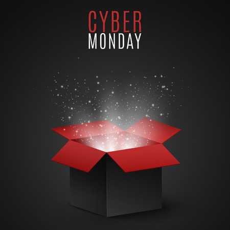 Black and red magic box for sale on cyber Monday. Flying light particles and dust on a dark background. Special offer. Super sale. Vector illustration Illustration