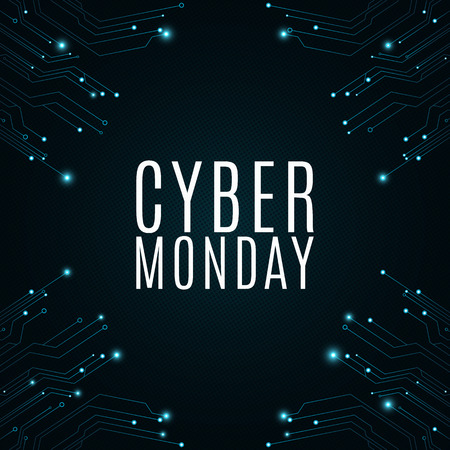 High-tech background from a computer circuit board for a cyber sale Monday. Great sale. Glowing neon blue connectors. Vector illustration Иллюстрация