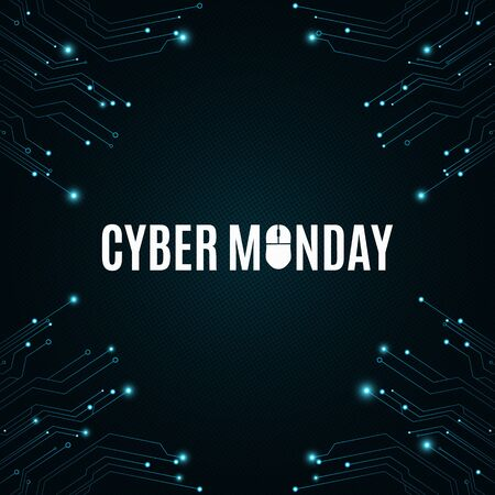high tech: High-tech background from a computer circuit board for a cyber sale Monday. Computer mouse. Great sale. Glowing neon blue connectors. Vector illustration