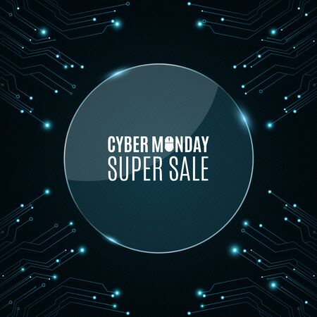 high tech: Glass round banner. High-tech background from a computer circuit board for a cyber sale Monday. Luminous blue banner. Great sale. Glowing neon blue connectors. Vector illustration Illustration