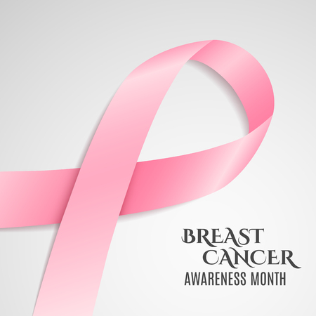 fighting cancer: Breast Cancer Awareness pink ribbon. Dark text. Light background. Fighting cancer. Vector illustration