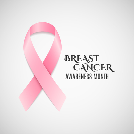 fighting cancer: Breast Cancer Awareness pink ribbon. Dark text. Fighting cancer. Vector illustration