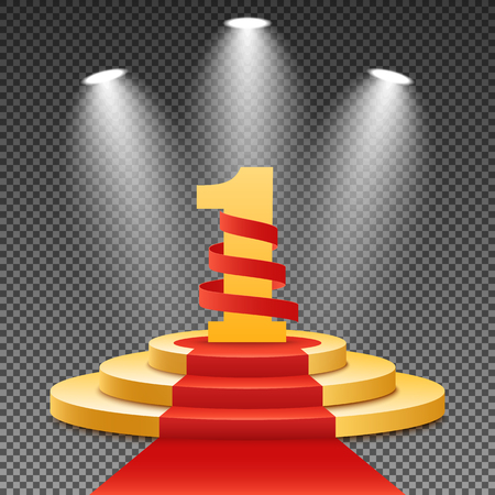 Gold podium with a red carpet on a transparent background.