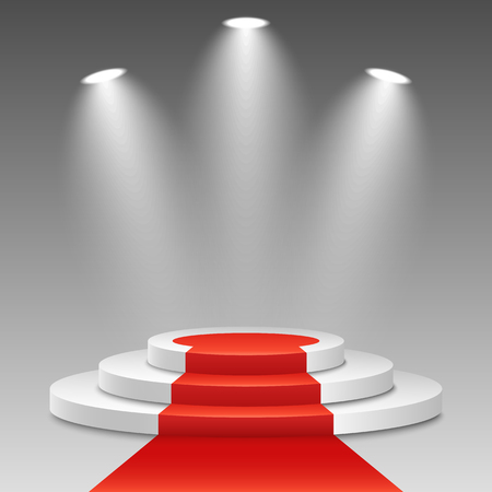 White podium with a red carpet on a transparent background.