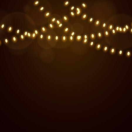Christmas golden lights on a dark background. Luminous oval light bulbs vector illustration.