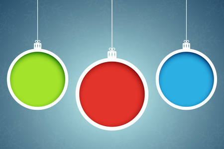 clippings: Multicolored christmas balls. Paper clippings. Abstract New Year banners.