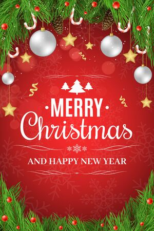 Christmas poster. Christmas tree, snow berries, sugar lollipops. Gold stars and white balls hang. Happy New Year. White text on a red background with a pattern of snowflakes. Vector illustration