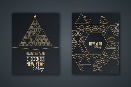 Elegant invitation card for New Year's party. 矢量图像