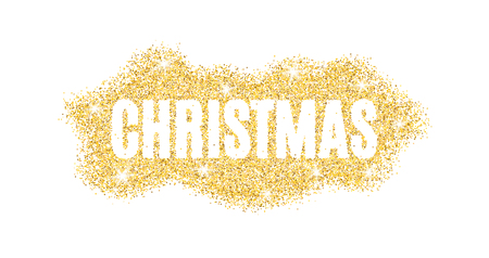 Christmas text made of golden particles on a white background. Gold glitter. Christmas lights. Christmas golden background for banner, flyer. Gold dust. Gold shine. Vector illustration Illustration