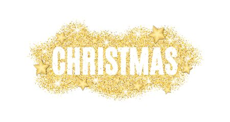 Christmas text made of golden particles on a white background. Gold glitter. Christmas lights. Christmas golden background for banner, flyer. Gold dust with the stars. Gold shine. Vector illustration Illustration