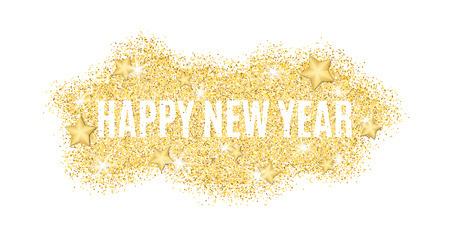 The text is from gold particles for the New Year. Gold glitter. Christmas lights. Christmas golden background for banner, flyer. Gold dust with the stars. Gold shine. Vector illustration Çizim