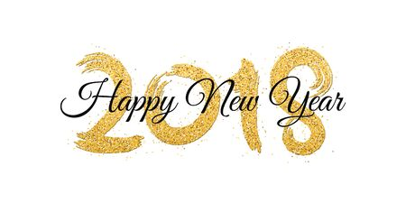 Happy new year 2018 lettering. Vectores