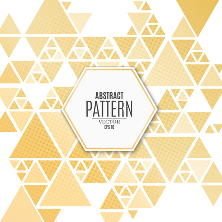 Abstract pattern of golden triangles on a white background. Luxurious, elegant background for your project. The effect of halftone. Mosaic of triangles. Vector illustration