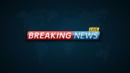 Breaking news live. Abstract futuristic background with a glowing blue world map of the planet earth. Technology and business. Live on TV. Vector illustration