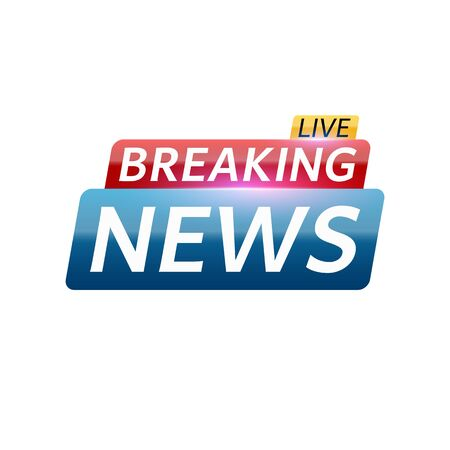 Breaking news live. Abstract red blue banner with white text. White background. Red and blue glare. Technology and business. Live on TV. Vector illustration
