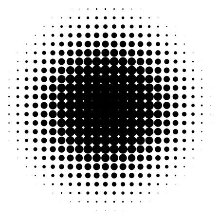 Effet de demi-teintes isolé sur fond blanc. Élément de demi-teintes. Gradient radial. Illustration vectorielle