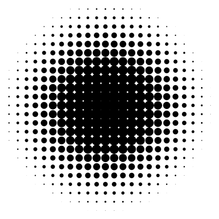 Halftone effect isolated on white background. Halftone element. Radial gradient. Vector illustration Vettoriali