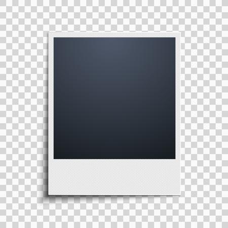Polaroid na przezroczystym tle. Ramka na zdjęcia. Wzór siatki. Ilustracji wektorowych