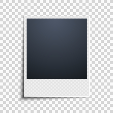 Polaroid on a transparent background. Photo frame. Grid pattern. Vector illustration