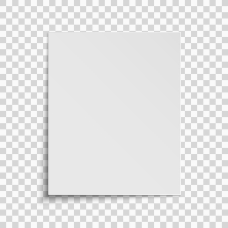Realistic vertical white sheet of paper isolated on a transparent background. Template for your project. Vector illustration